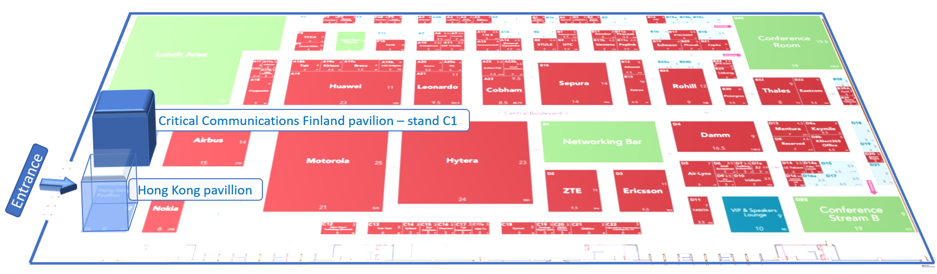 Critical Communications Finland pavilion in CCW2017 is located at the entrance on stand C1