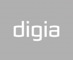 Digia logo - white Digia text over grey background