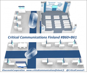 Critical Communications Finlan participates into CCW2018 in Berlin on stands B60 and 61. The stand is a L-shaped with a Finnish flag pattern 25 pods and two mystery items