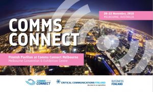 Finnish pavilion for the first time in Comms Connect Australia in Melbourne 20-22 November 2018 - seeking for co-operation