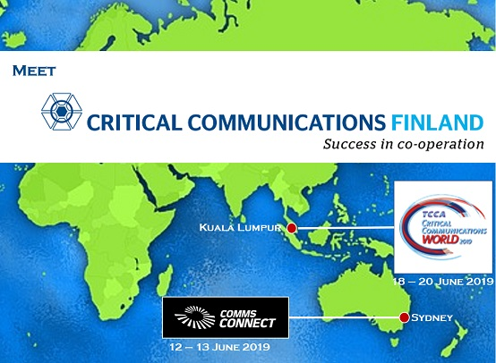 Meet Critical Communications Finland in Comms Connect Sydney and in CCW2019 Kuala Lumpur