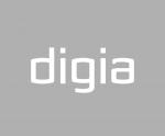 Digia logo - white Digia text over grey background