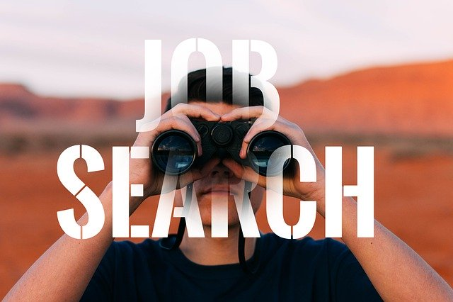 Job search - man looking through binoculars
